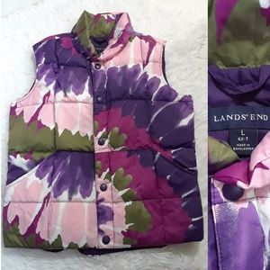 Lands End Girl's Abstract Colors Puffer Vest